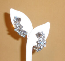 Juliana D&E Clear Rhinestone Earrings w/ Floral Accent & Overarm Construction