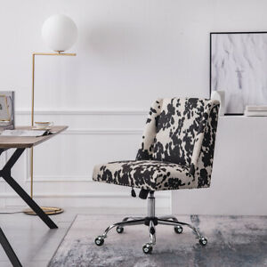 Cow Velvet Swivel Computer Desk Chair Lounge Office Chair Dressing Table Chair