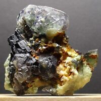 ZB68- MULTICOLORED FLUORITE with BLACK TOURMALINE & APATITE? FROM NAMIBIA