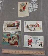 5 American Vintage Christmas/Holiday Paper Postcards~1920-1924~Stamped