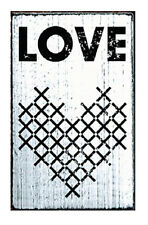 Love Cross Stitch Rubber Stamp Vintage Stamps Mounted White Washed Wood Block