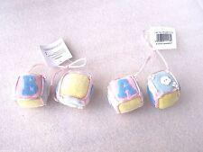 6 x Yellow Blue & Pink A B C Soft Toy Blocks Pram Cot Christmas Tree Decorations
