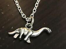 "Dinosaur Brontosaurus Charm Tibetan Silver with 18"" Necklace"