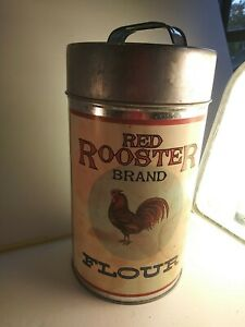 Red Rooster Flour Tin/canister