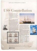 #3869 37c USS Constellation USPS #715 Commemorative Stamp Panel