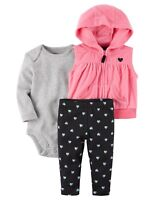 Carter's NWT 3M 6M 12M Infant Girl Fleece Hood Vest Cardigan Bodysuit Pant Set
