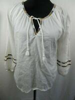 Prana Peasant Blouse Sz XS 100% Organic Cotton Tassel Tie Boho White/Color Trim