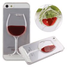 Custodia RED WINE liquido rosso per iPhone 5 5S SE cover rigida case calice vino