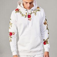 Sudadera Con Capucha Floral Bordada Para Hombre Moda Casual De Invierno Algodón