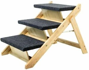 MEWANG Wood Pet Stairs/Pet Steps - 2-in-1 Foldable Dog Stairs & Ramp Perfect for