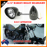 "5.75"" Matt black billet alloy bullet headlight Harley dyna softail wide glide"
