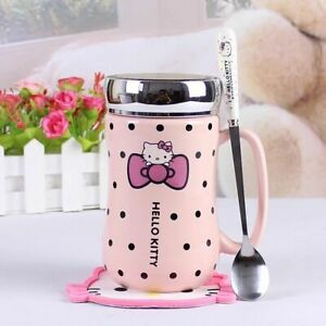Cute Hello Kitty Ceramic Cup Mug with Mat and Spoon Water Bottles Mirror Lid