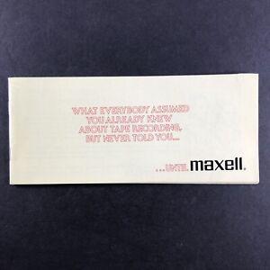 MAXELL Informational Booklet BROCHURE  Sales Pamphlet Vintage L-604