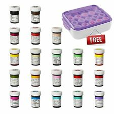 Wilton Full Set of 20 Icing Colour Paste Gel Food Colouring + FREE Organiser