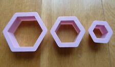 3 Pcs Hexagon Cookie Cutter Shapes Biscuit Pastry Cake Bakery Mould Pink