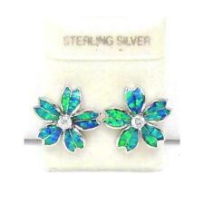 INLAY OPAL STERLING SILVER 925 FANCY HAWAIIAN PLUMERIA FLOWER STUD POST EARRINGS