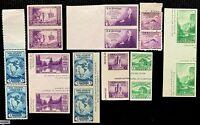 US SC#752-755, 766-770 Pair w/ Horz. gutter between  CV:$38