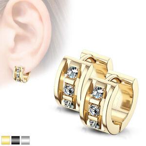 PAIR of Hoop Hinged Huggie Earrings 20g, 7mm Wide, 3 CNC Set CZ Gems