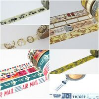 Washi Tape Vintage Retro Antique Travel Air Mail Stamps Theme 15mm x 10 Metres