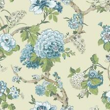 Wallpaper Classic Jacobean Floral in Blue Greens and Tan on Pearlized Bone