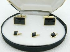 Vtg Swank Signed Gold Tone Faceted Black Glass Cufflinks Stud Set in Box