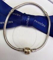 Authentic Genuine Pandora Silver 14k Gold Clasp Moments Bracelet 21cm #590702HG