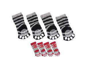 Hundesocken 4er Set Socken Sockies grau rot Anti Rutschsocken Hunde Socke Karlie