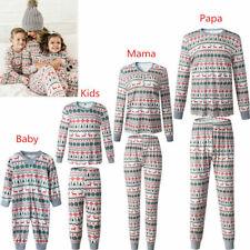 Family Matching Adult Kids Christmas Pyjamas Xmas Nightwear Pajamas PJs Sets C3