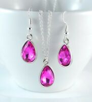 TEAR DROP HOT PINK FACETED CRYSTAL PARTY WEDDING PENDANT NECKLACE EARRING