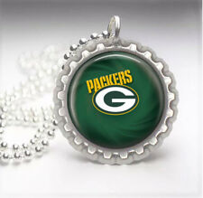 Green Bay Packers Silver Bottle Cap Pendant Necklace