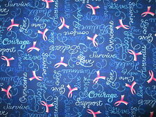 BREAST CANCER PINK RIBBONS STRENGTH COURAGE LOVE BLUE COTTON FABRIC BTHY