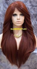 Long Layered With Bangs Auburn Full Lace Front Wig Heat Ok Hair Piece #130 NWT
