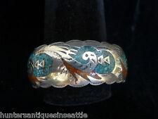 Vintage Navajo Native American Sterling & Inlaid Turquoise Bracelet Signed HMIJ
