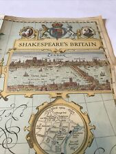"""Shakespeare's Britain Map 24.5"""" x 19"""" Plays & History National Geographic 1964"""