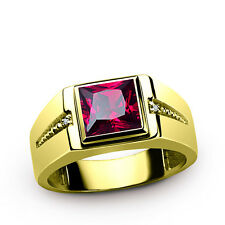 Mens Red Ruby Ring in SOLID 10k GOLD and DIAMOND Accents Fine Jewelry all sizes