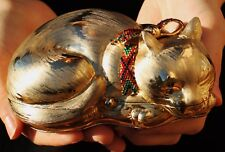 JUDITH LEIBER RESTING GOLDEN CAT SWAROVSKI CRYSTAL MINAUDIERE EVENING BAG