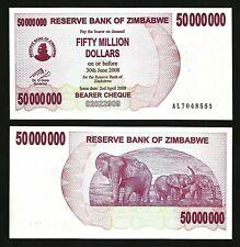 ZIMBABWE 50,000,000 - 50 MILLION DOLLARS 2008 , UNC , P-57 BEARER CHEQUE