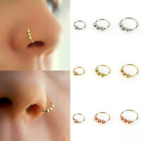 Unisex Steel Beads Nose Ring Piercing Ear Lip Cartilage Hoop Jewelry 6/8/10mm