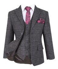 Boys Charcoal Grey Tweed Check Peaky Blinders Prom Wedding Formal Retro Suit Set