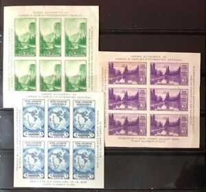 United States #735,750,751 3 Sheets of 6 1934 MLH