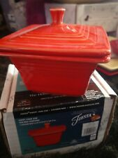 Belk Store Exclusive Fiesta Square Covered Box, Candy Dish - POPPY - New In Box
