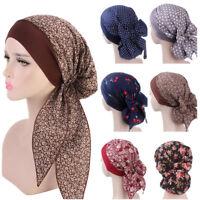 Floral Print Hijab Cap Muslim Women's Chemo Turban Long Tail Scarf Hat Headwrap