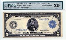 Fr#879a 1914 $5 FRN Minneapolis PMG Graded 20 Very Fine Rickey Collection