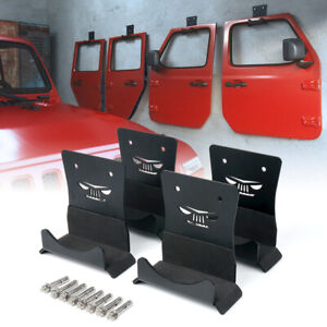 4x Wall Mount Door Hangers Storage Holder for Jeep Wrangler CJ YJ TJ LJ JK JL JT