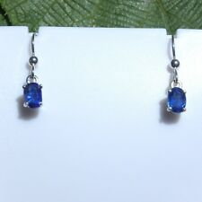 1.92 CTW Natural Kyanite Drop Earrings 7 x 5 mm 925 Sterling Silver