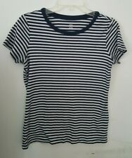 Lands End Womens Short Sleeve Shirt Small - 6 - 8 Striped Blue