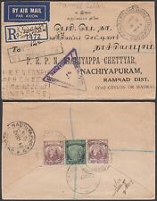 Malaysia-Singapore 1940 -  Registered airmail cover to Ceylan.(7G-38189) MV-4426