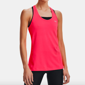 Under Armour Womens Cerise Pink Fitted Racerback Silver Logo Tank Top Size S $25