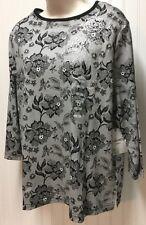 breckenridge Woman sz 1 X  Lace Print 3/4 sleeve T-shirt