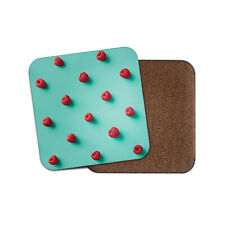 Cute Little Raspberries Coaster - Turquoise Funky Fruit Raspberry Gift #16079